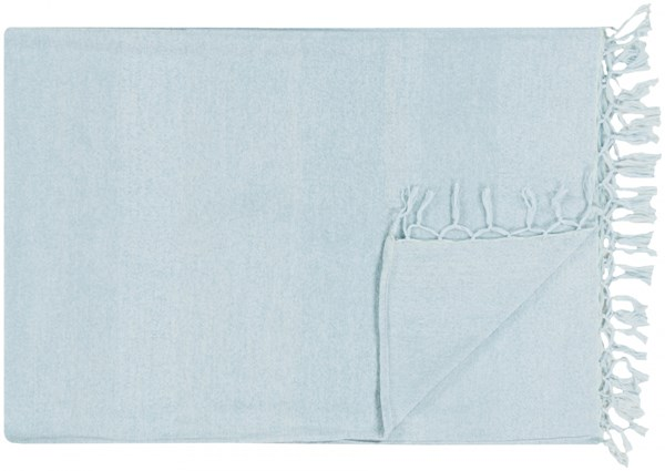 Tessa Traditional Sky Blue Wool Cotton Throws TES7001-4060