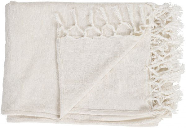 Tessa Traditional Ivory Wool Cotton Throws TES7002-4060