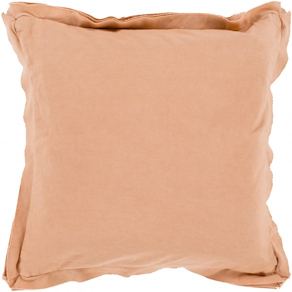 Triple Flange Salmon Poly Cotton Throw Pillow - 20x20x5 TF003-2020P