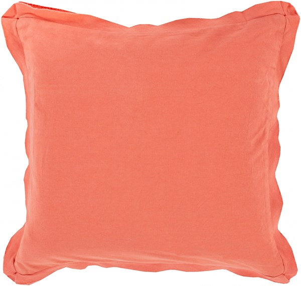 Triple Flange Coral Poly Cotton Throw Pillow - 22x22x5 TF010-2222P