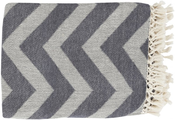 Thacker Modern Ivory Charcoal Fabric Throws 13752-VAR1