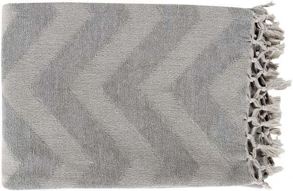 Thacker Modern Light Gray Cotton Geometric Throws THA8002-5070