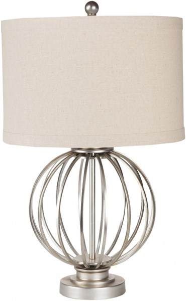 Thela Antiqued Silvertone Metal Linen Table Lamp - 15x15 THLP-001