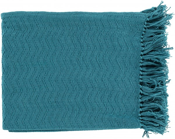 Thelma Contemporary Teal Cotton Rectangle Throws THM6005-5060