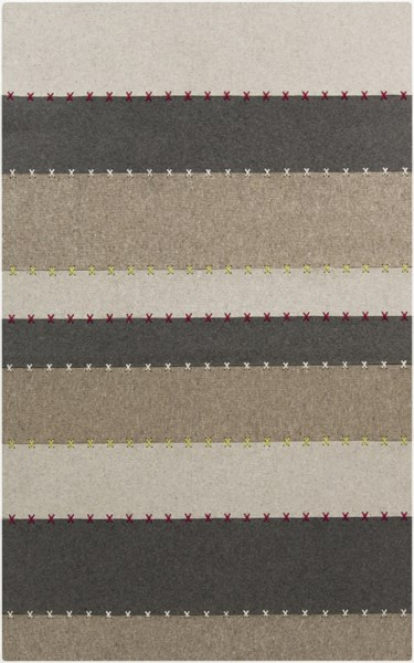 Thread Charcoal Taupe Ivory Felted Wool Area Rug - 60 x 96 THR2000-58