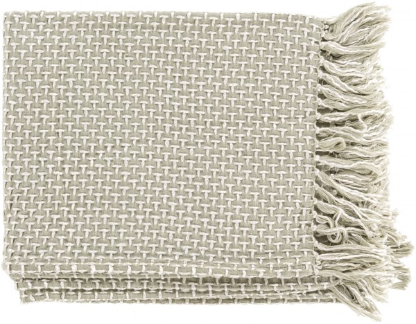Tierney Traditional Moss Ivory Cotton Viscose Throws TIE1001-5060