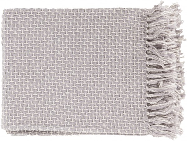 Tierney Traditional Light Gray Ivory Cotton Viscose Throws TIE1004-5060