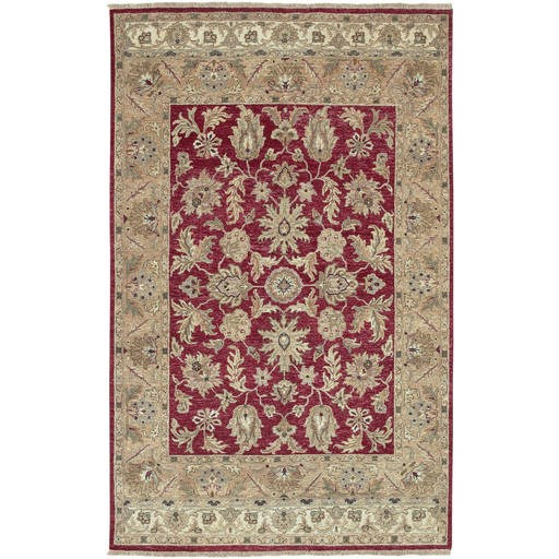 Timeless Red Plush Pile Rectangle Wool Rug (L 36 X W 24) TIM7901-23
