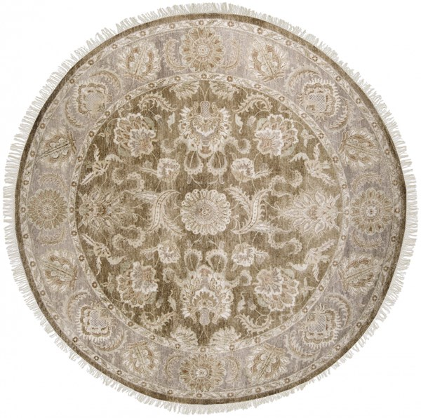 Timeless Chocolate Gray Beige New Zealand Wool Round Area Rug-96x96 TIM7907-8RD