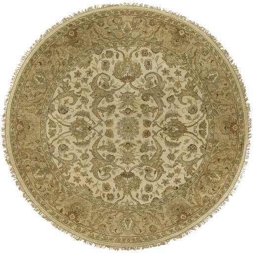 Timeless Beige Plush Pile 96 Inch Round Wool Rug TIM7909-8RD