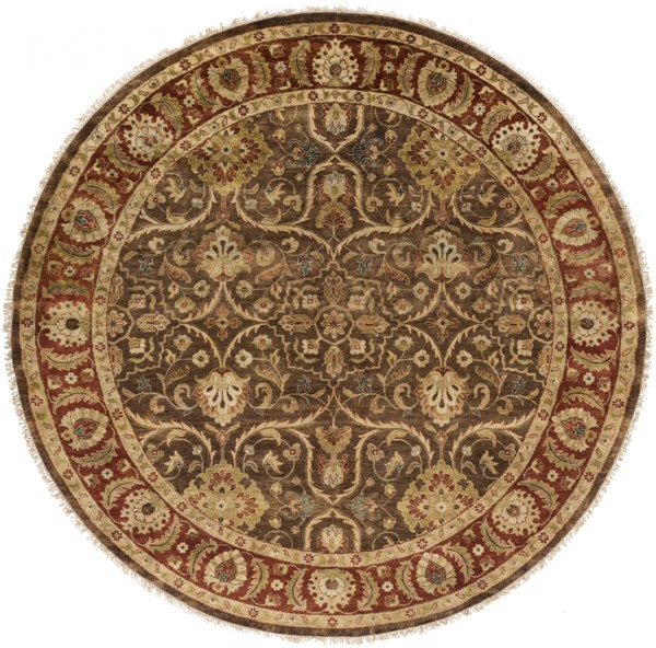 Timeless Olive Gold Chocolate New Zealand Wool Round Area Rug-96x96 TIM7920-8RD