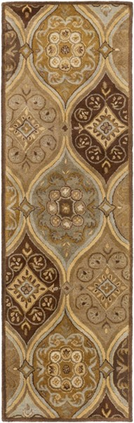 Tinley Lime Taupe Chocolate Wool Runner - 30 x 96 TIN4007-268