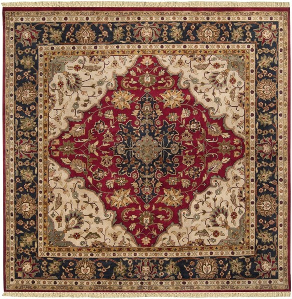 Taj Mahal Burgundy Beige New Zealand Wool Square Area Rug - 96 x 96 TJ2000-8SQ