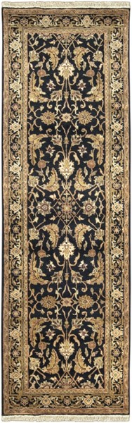 Taj Mahal Traditional Black Olive Beige Fabric Runner (L 96 X W 30) TJ44-268