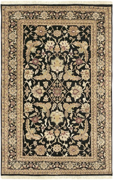 Taj Mahal Black Olive Beige New Zealand Wool Area Rug - 66 x 102 TJ44-5686