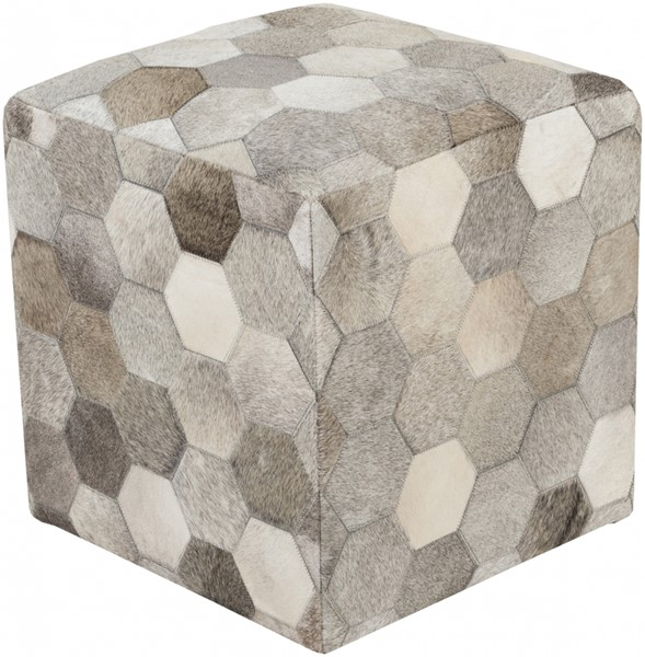 Trail Light Gray Olive Hair On Hide Pouf - 18x18x18 TLPF-001