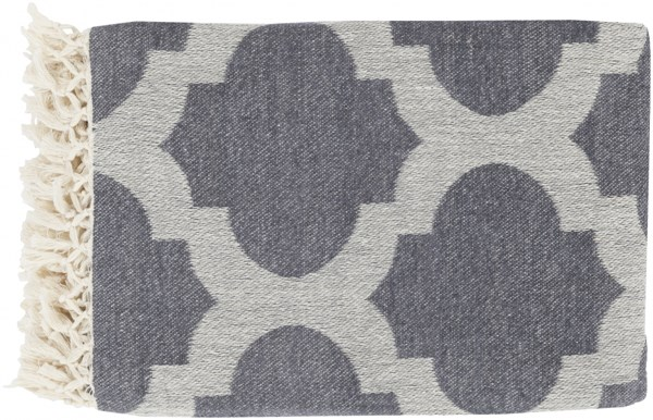 Trellis Modern Ivory Charcoal Fabric Throws 13751-VAR1