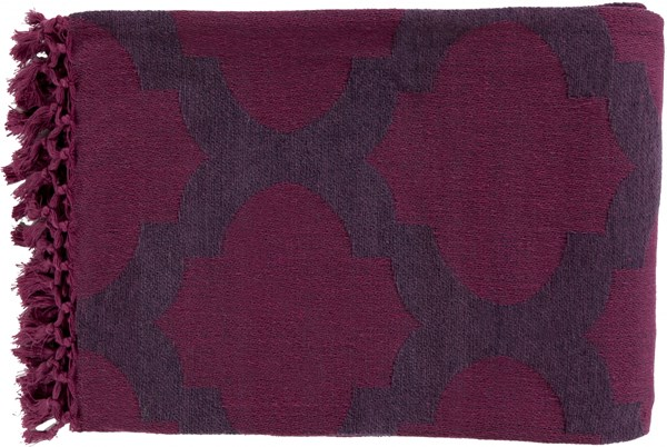 Trellis Modern Eggplant Magenta Cotton Throws TLS7002-5070