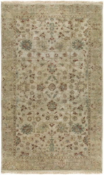 Temptress Light Gray Salmon Olive New Zealand Wool Area Rug - 60 x 96 TMS3001-58