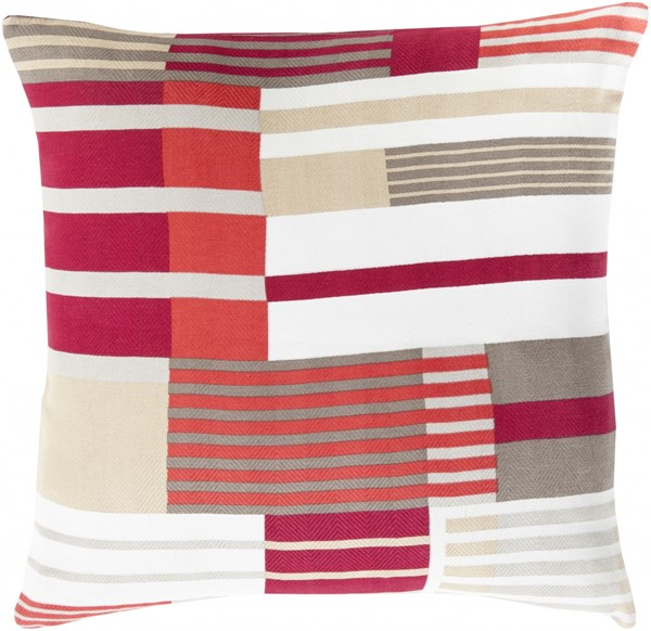Teori Hot Pink Ivory Beige Down Cotton Throw Pillow - 20x20x5 TO001-2020D