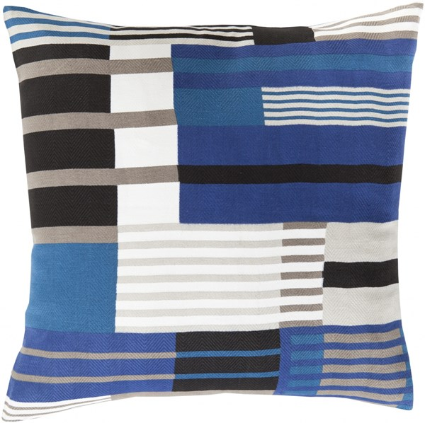 Teori Cobalt Black Light Gray Down Cotton Throw Pillow - 18x18x4 TO002-1818D