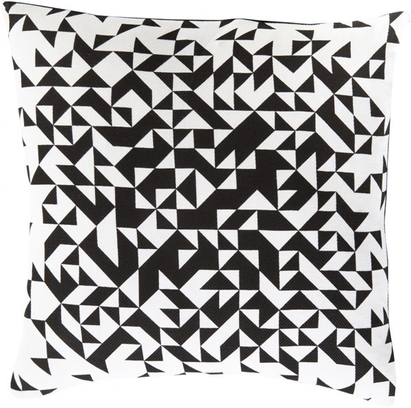 Teori Charcoal Ivory Poly Cotton Throw Pillow - 22x22x5 TO005-2222P