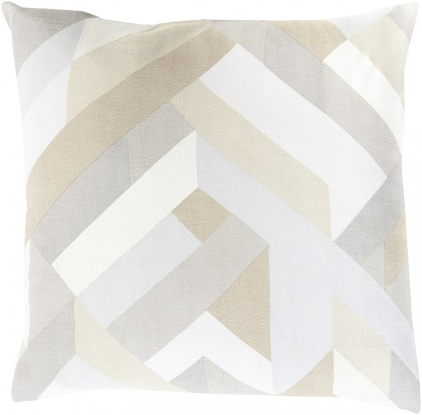 Teori Beige Sea Foam Light Gray Poly Cotton Throw Pillow - 20x20x5 TO015-2020P