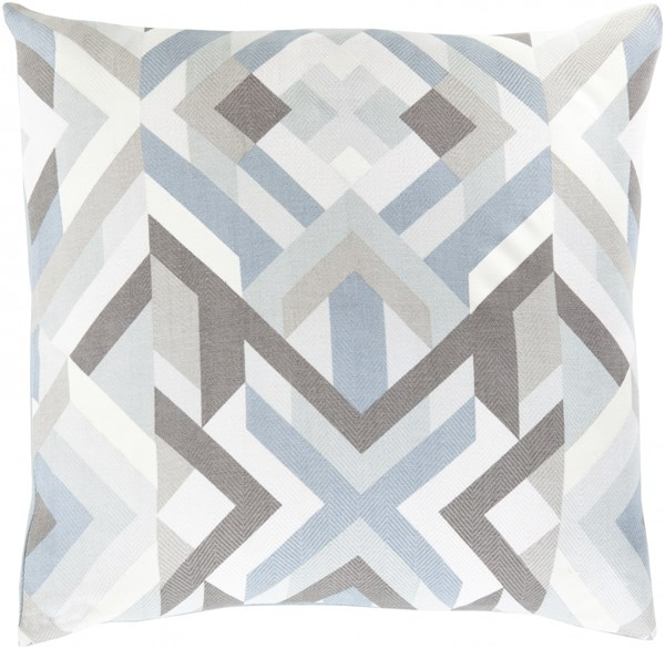 Teori Ivory Gray Charcoal Fabric Throw Pillow (L 20 X W 20 X H 5) TO017-2020D