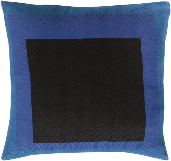 Teori Black Cobalt Teal Down Cotton Throw Pillow - 22x22x5 TO020-2222D