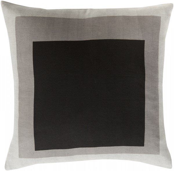 Teori Charcoal Light Gray Down Cotton Throw Pillow - 18x18x4 TO021-1818D