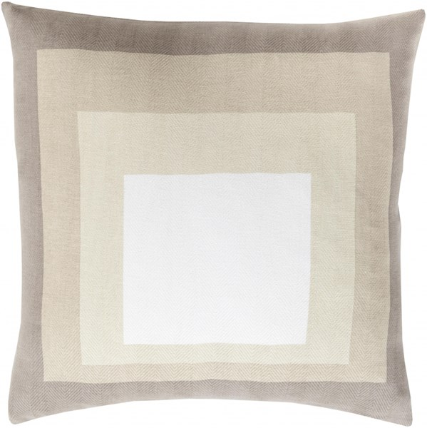 Teori Ivory Beige Taupe Down Cotton Throw Pillow - 18x18x4 TO023-1818D
