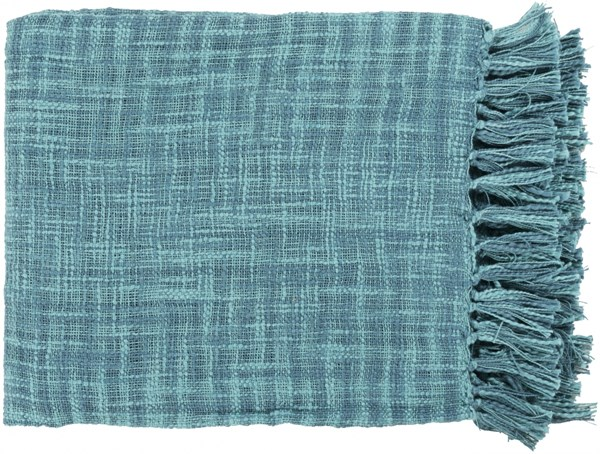 Tori Traditional Teal Cotton Rectangle Throws TOR001-4959