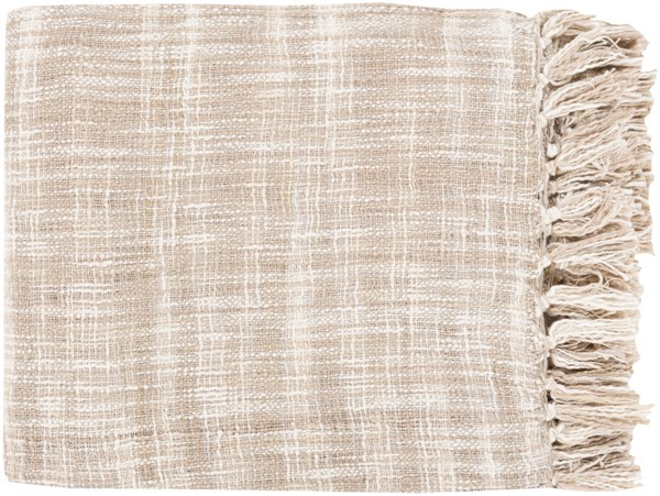 Tori Traditional Ivory Taupe Cotton Throws TOR008-4959