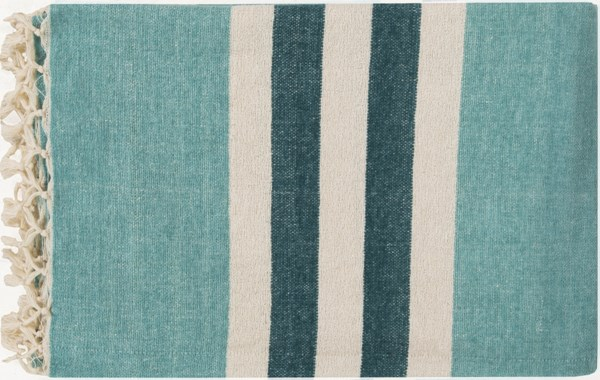 Troy Traditional Aqua Ivory Teal Cotton Throws TOY7001-5070
