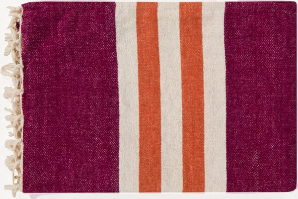 Troy Traditional Tangerine Ivory Magenta Cotton Throws TOY7002-5070