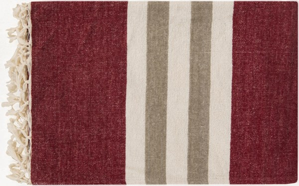 Troy Traditional Burgundy Ivory Light Gray Cotton Throws TOY7003-5070