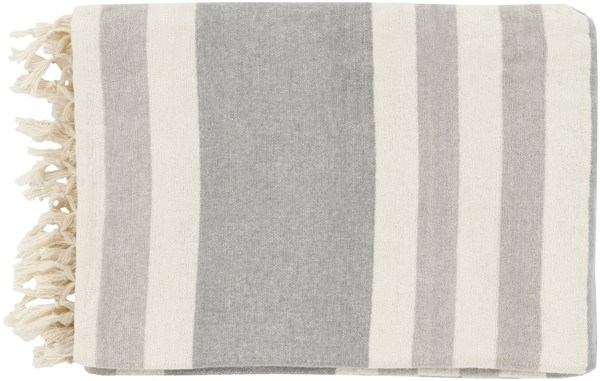 Troy Traditional Light Gray Ivory Cotton Throws TOY7004-5070