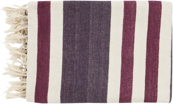 Troy Traditional Eggplant Ivory Magenta Cotton Throws TOY7005-5070