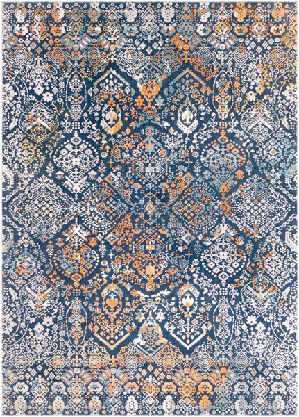 Surya Topkapi Ink Burnt Orange Navy Polyester Polypropylene Area Rug - 87x63 TPK2300-5373
