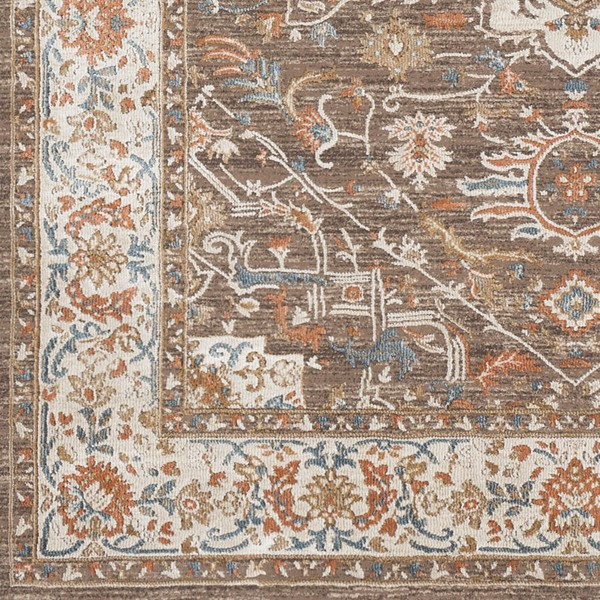 Surya Topkapi Burnt Orange Aqua Navy Polyester Polypropylene Sample Area Rug - 18x18 TPK2301-1616