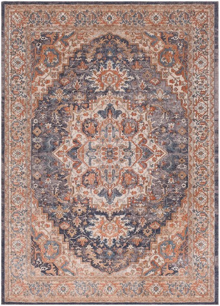 Surya Topkapi Burnt Orange Navy Aqua Polyester Polypropylene Area Rug - 36x24 TPK2305-23