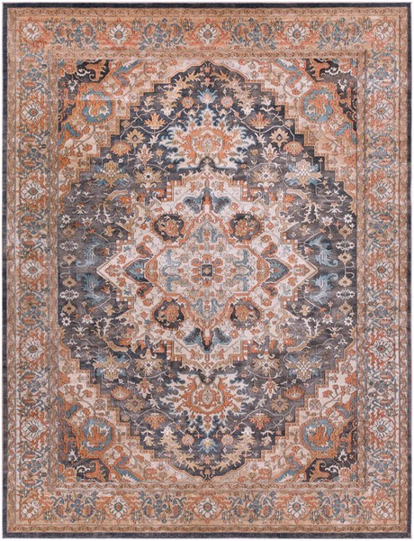 Surya Topkapi Burnt Orange Navy Aqua Polyester Polypropylene Area Rug - 123x94 TPK2305-710103