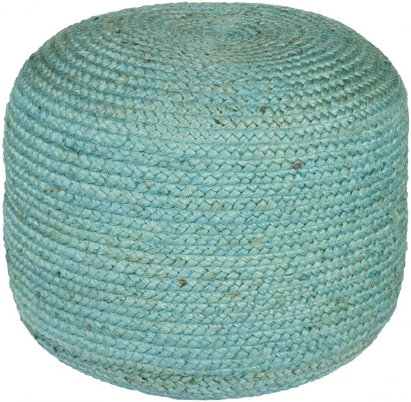 Tropics Contemporary Teal Jute Fabric Pouf TPPF-001