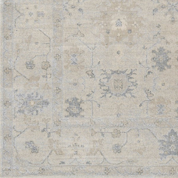 Surya Tranquil Cream Taupe Light Gray Polypropylene Polyester Sample Area Rug - 18x18 TQL1006-1616