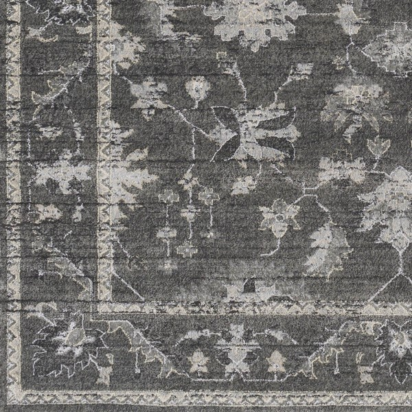 Surya Tranquil Gray Charcoal Cream Polypropylene Polyester Sample Area Rug - 18x18 TQL1008-1616