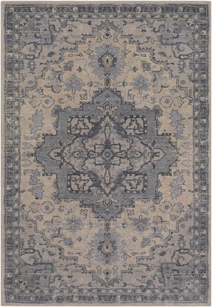 Surya Tranquil Light Gray Cream Charcoal Polypropylene Polyester Area Rug - 90x60 TQL1010-576