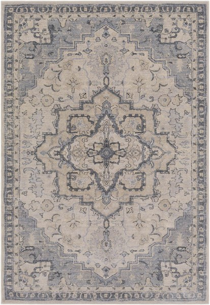 Surya Tranquil Gray Cream Polypropylene Polyester Area Rug - 90x60 TQL1011-576
