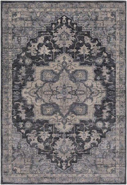 Surya Tranquil Charcoal Cream Light Gray Polypropylene Polyester Area Rug - 120x96 TQL1012-810