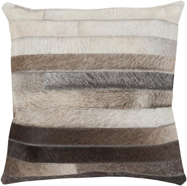 Trail Beige Taupe Gray Down Hair On Hide Throw Pillow - 22x22x5 TR002-2222D