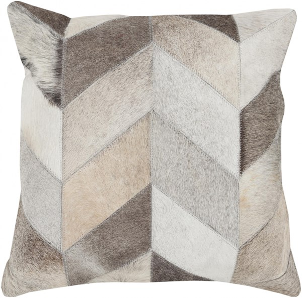 Trail Beige Gray Ivory Poly Hair On Hide Throw Pillow - 18x18x4 TR003-1818P